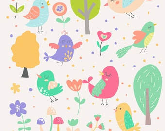 INSTANT DOWNLOAD - Birds and Flowers Cliparts