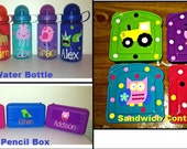 SALE! Plus FREE Snack Holder- Back to School Personalized Set- Pencil Box, Sandwich Container and Water Bottle, Personalized Kids Set