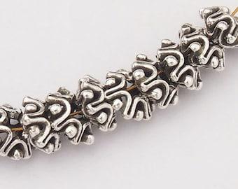10 of Karen Hill Tribe Silver Bi-crown Beads 7.5x4 mm. :kp0699