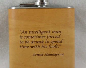 20% OFF SALE Hemmingway Flask with Hand Dyed Engraved Leather Wrap
