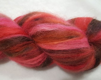 Hand Painted 100% Alpaca Roving - 4 ounces - Dyed in shades of Red, Brown and Orange
