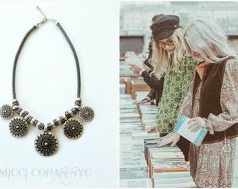 SALE / Silver Boho, Gypsy, Festival, Chunky, Kuchi, Silver Medallion Necklace~Free Shipping U.S.