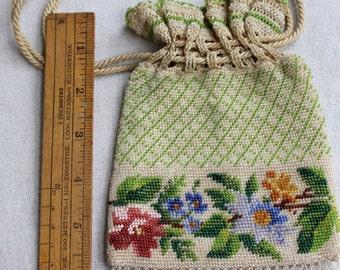 Edwardian Vintage Floral Beaded Purse   - 1910s Handmade Bag -B6