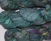 100g Recycled Sari Silk Ribbon Yarn, multi, 65 yards,   3.5 oz / 100 grams Fancy aqua green multi