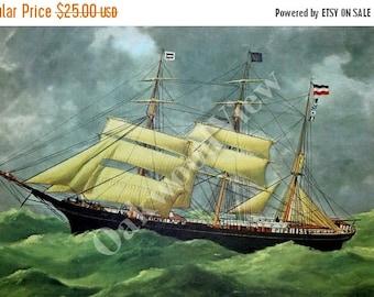 ON SALE Barque Dora Sailing Ship, Vintage 12x15 Color Art Print c1960s, 19th Century Seascape Oceanscape, FREE Shipping