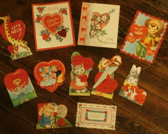 Lot  of 11 Vintage 1950s 1955 Valentines Day Card Scrapbooking Creative Crafting