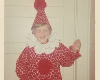 1960's Young girl in clown costume vintage children photo.Cute