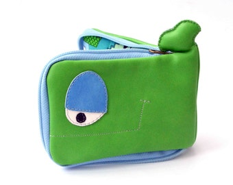 Green and blue Whale wallet with cats, genuine recycled leather