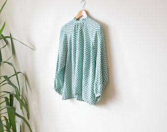 Vintage Polka Dot Blouse Tie Mint Green Summer 1970s Fashion Shirt