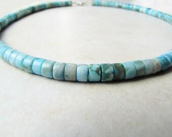 Jasper Necklace, Gemstone Necklace, Crystal Necklace, Ocean, Surfer, Beach, Heishi