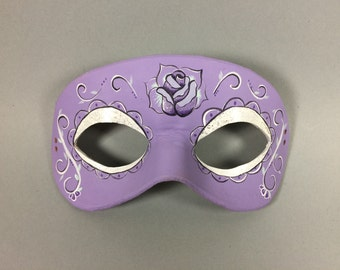 Purple Rose Day of the Dead Leather Mask