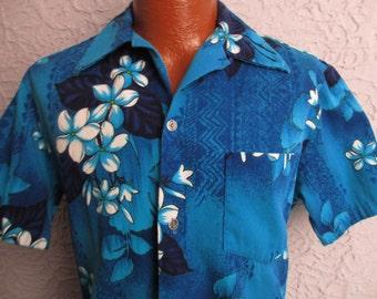 Vintage 50's/60's Blue Hawaii Tribal Shirt Tapa Barkcloth  Lg