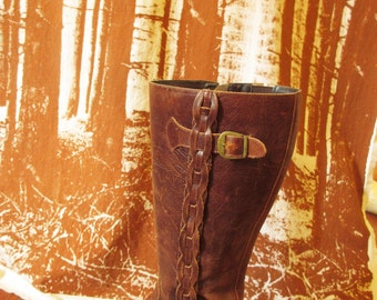 70's Vintage Brown Leather Mod Hippie Boots 10