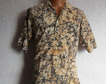 Vintage Men's Hippie Batik Shirt  hand dyed large