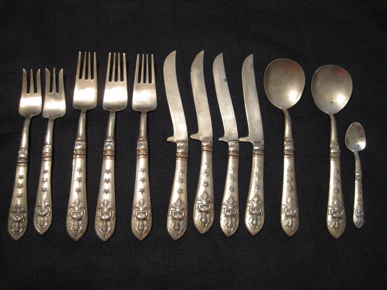 Brass bronze thai flatware 12 assorted pieces thailand - Thailand silverware ...