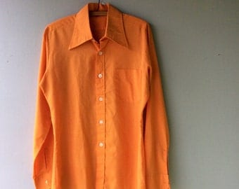 1970s Tangerine Wide Collar Button Up