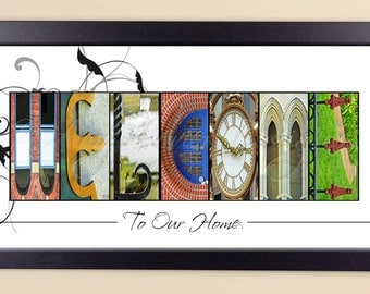 WELCOME to our home Color Alphabet Photography Letter Art -10x20 Framed