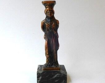 ON SALE Vintage ancient Greek souvenir cast metal Caryatid maiden figurine from Acropolis
