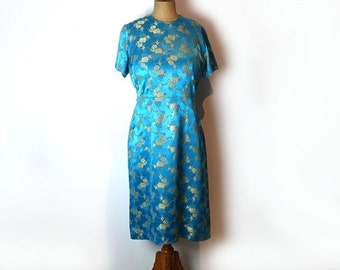 ON SALE Vintage original 1970s teal and gold Chinese embossed silk brocade dress