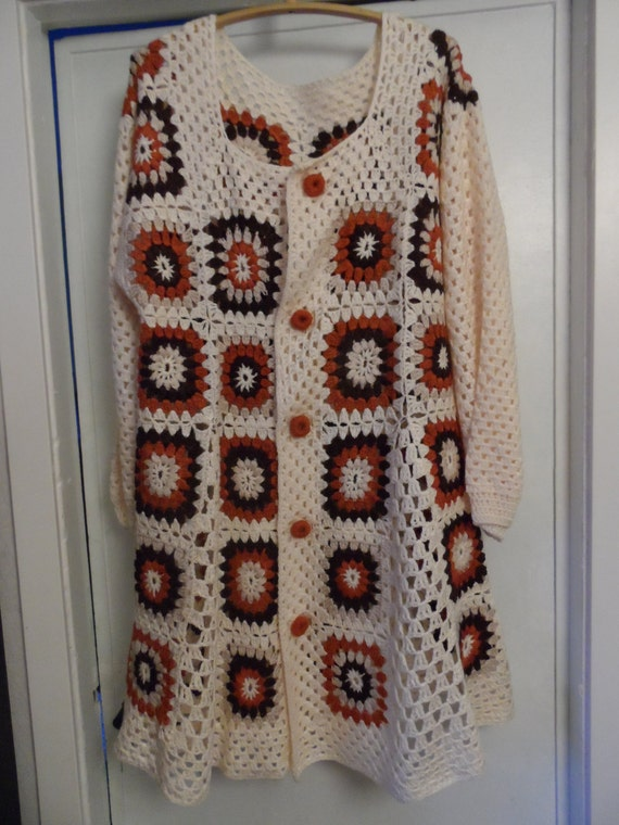 Crochet granny square in 1960-s hippie boho womens coat jacket cardigan ivory rusk chocolate brown L / XL OOAK