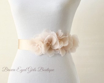 Blush Wedding Sash, Blush Bridal Sash, Pink Wedding Belt, Blush Bridal Belt, Blush Silk Organza Flower Bridal Belt - Vera Wang Inspired