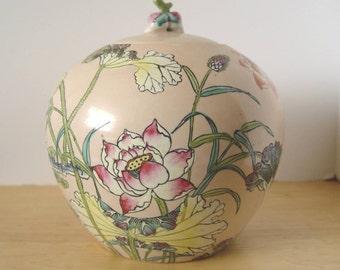 Vintage Porcelain Decorative Floral & Bird Light Peach Color GINGER JAR With Lid ~ Decorative Jar Bowl