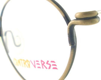 Vintage Controverse Eyewear Glasses Eyeglasses Sunglasses Frame Austria Matte Antique Gold