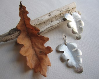 Handmade Forged Nature Inspired Organic Sterling Silver Boho Long Leaf Earrings