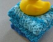 Crochet 100% cotton yarn washcloths.  Rubber Duckie. Baby Shower