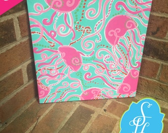 12x12 Preppy Canvas inspired by Lilly Pulitzer Jellies Be Jammin