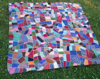 Two sided Crazy Patch quilt! vintage