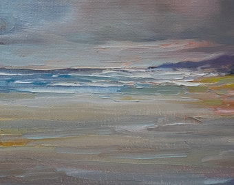 Original oil painting seascape - abstract beach - Ocean Lake - Storm clouds