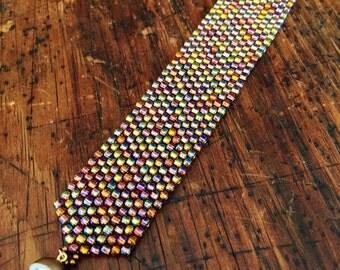 Rainbow bronze beaded cuff bracelet, beaded bracelet, seed bead cuff, glass beaded cuff, rainbow bronze bracelet, bracelet cuff beaded