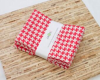 Large Cloth Napkins - Set of 4 - (N3624) - Red Houndstooth Modern Reusable Fabric Napkins