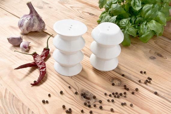 Salt and Pepper Shakers, White Porcelain Shakers, Modern Housewarming Gift