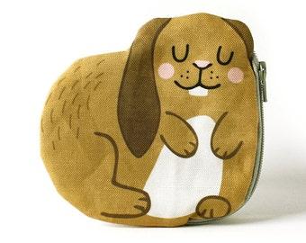 Bunny Coin Purse, Rabbit, Cotton, brown