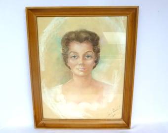 VINTAGE LADY PORTRAIT / Pastel Mid Century Portrait