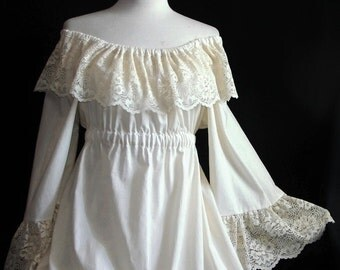 Victorian Peasant dress Custom wedding dress plus size wedding plus size bridal petite size lace dress plus size clothing renaissance boho