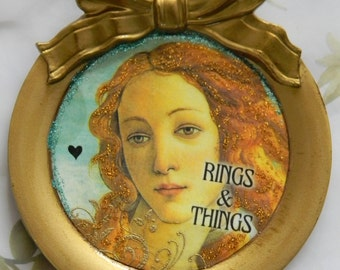 Rings and Things Venus Round-Shaped Ring Holder Decoupage Recycled Italian Coaster