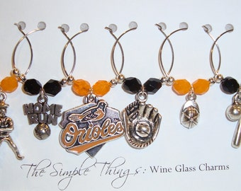 Orioles Wine Glass Charms