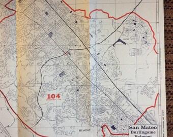 Industrial Decor Map 1980's San Francisco San Mateo Burlingame Belmont huge California vintage