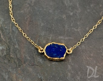 Lapis Slice Connector Necklace -  Layered Necklaces - Electropformed Slice - Gold Necklace - Layering Jewelry