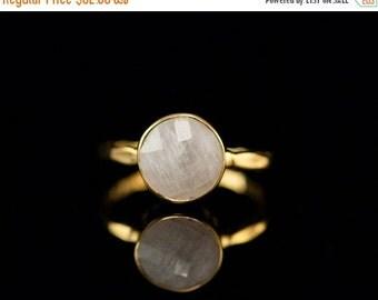 40 OFF - White Moonstone Ring - June Birthstone Ring - Gemstone Ring - Gold Ring - Bezel Set Ring