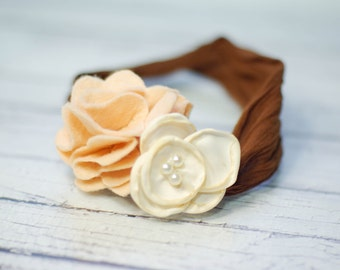Tan Ivory and Brown Flower // Super Soft Nylon Baby Headband, BABY HEADBAND, newborn headband, headband, flower headband, Photography Prop