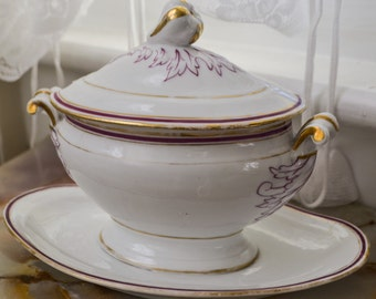 Vintage Porcelain Soup Tureen w/ Lid and Base in Raspberry & Gold