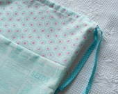 Shabby Chic Laundry Bag. Aqua Blue. Flower and Seed print Large Drawstring Bag. Pastel Pink, Pale Blue  europeanstreetteam
