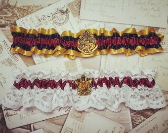 Harry Potter Two Garter set - Harry Potter Wedding, Alternative Bride, Hogwarts, Gryffindor, Slytherin, Ravenclaw, Hufflepuff,
