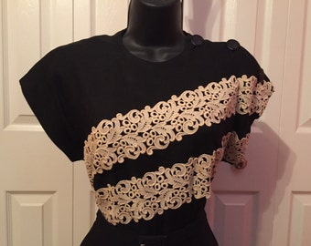 40s 50s black dress with white lace