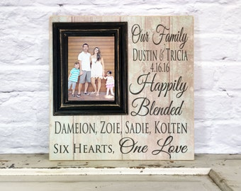Blended Family Signs Personalized Blended Family Photo Frame Blended Family Gift, Blended Family Wedding, Picture Frame 16x16 with 5x7 Frame