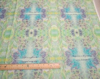 Lt Patina - Kaleidoscope Inspirational Sayings 24x44 panel premium cotton fabric from Quilting Treasures -  see item description